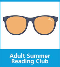 image of sunglasses with text adult summer reading