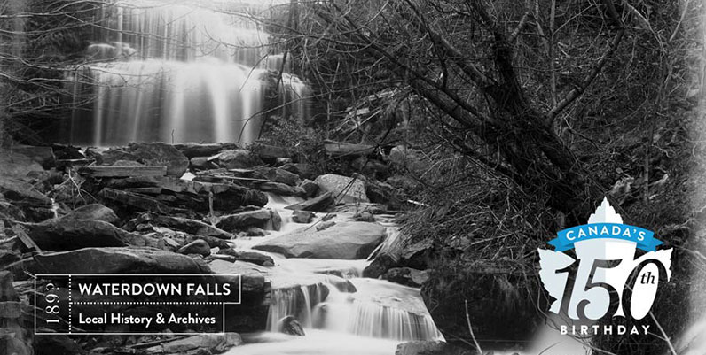 black and white photo of waterdown falls in hamilton