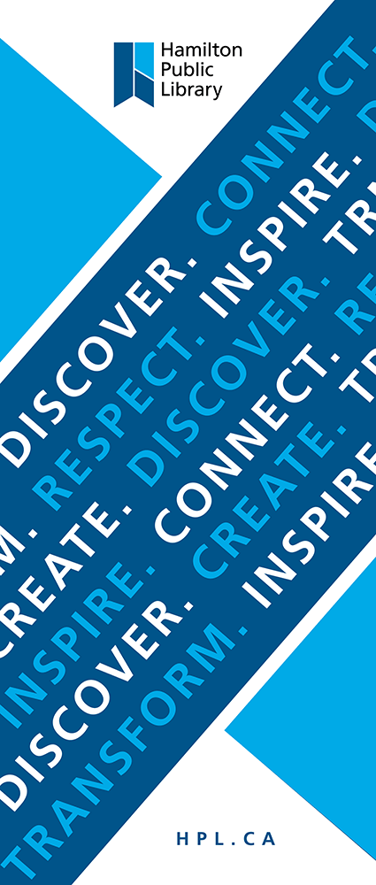 HPL logo with graphic montage of text - discover, connect, respect, create etc