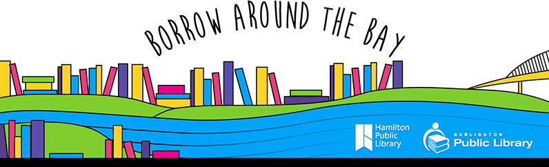 Borrow around the bay, Hamilton Public Library and Burlington Public Library logos at the bottom of a landscape of green rolling hills and water