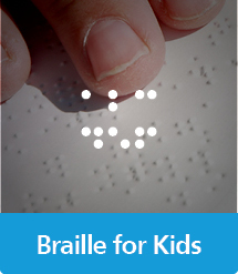 Graphic of Braille Books for Kids with text and icon