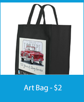 a photo of a bag with a cadillac on it and text of artbag $2 underneath