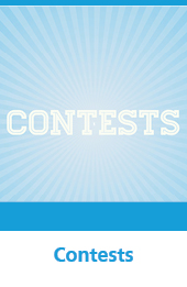 Graphic with the text Contests against a blue background