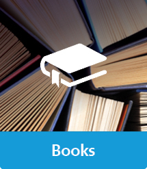 Graphic of Books with text and icon