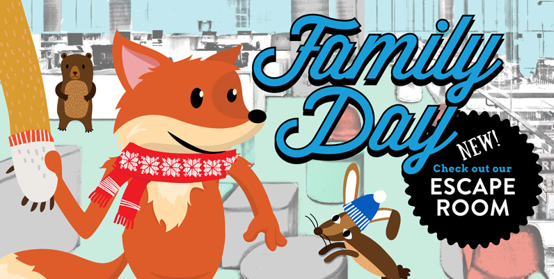 graphic of scout the fox and text Family Day