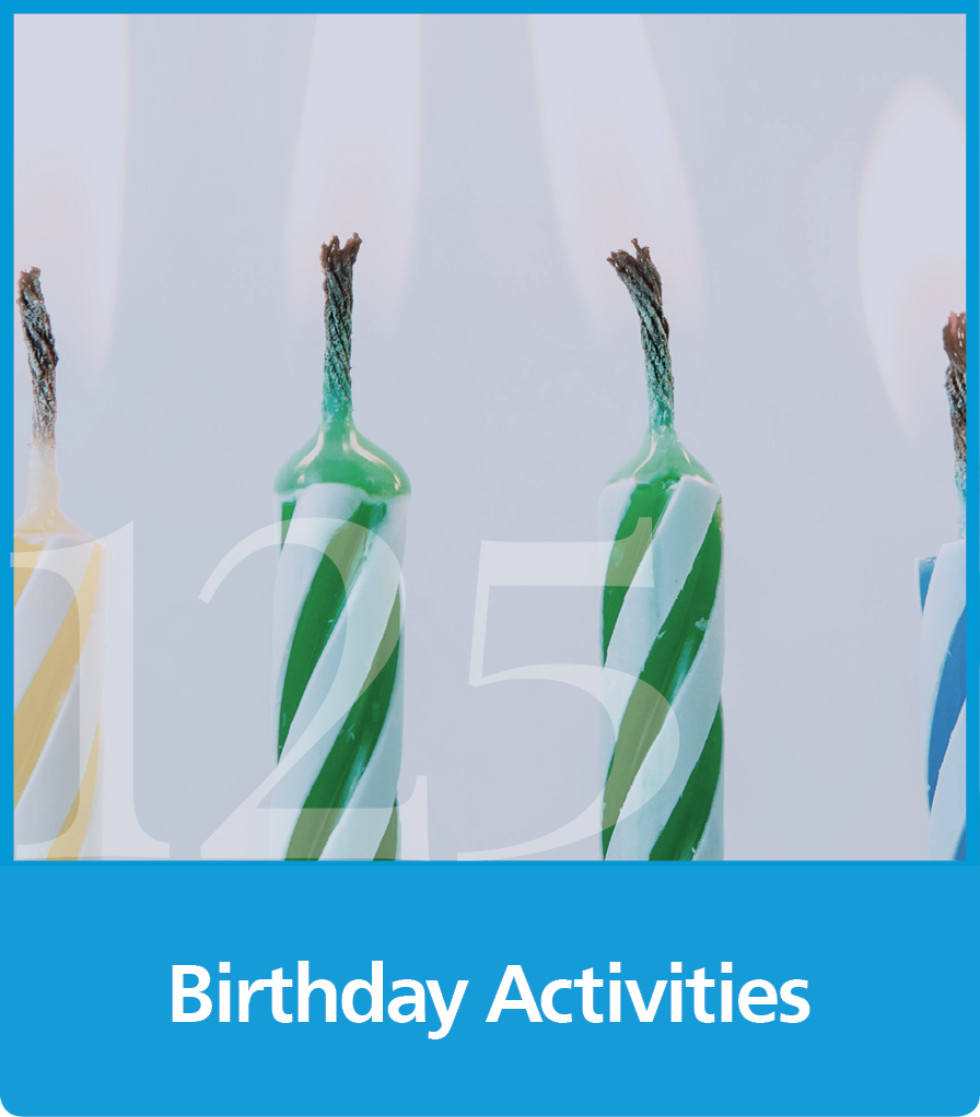 a graphic block with an image of candles and the text birthday activities