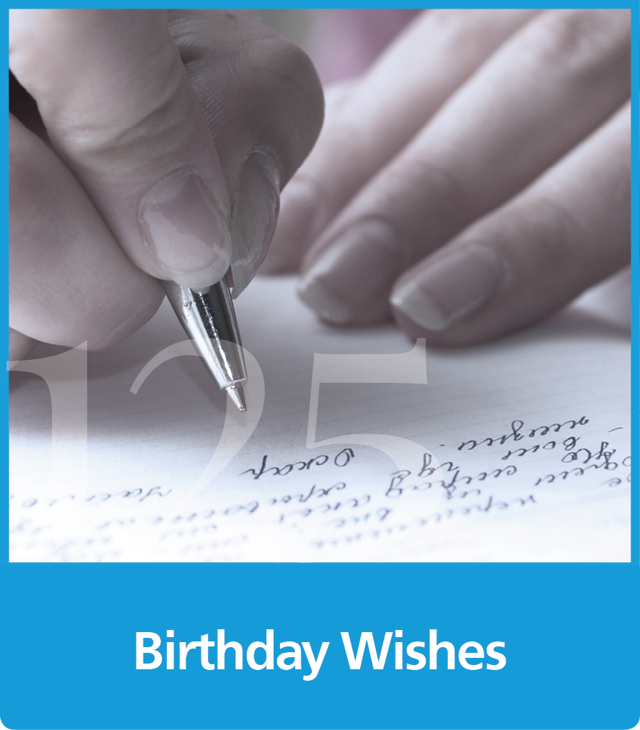 a graphic block with an image of a a hand with a pen writing on paper and the text Birthday wishes