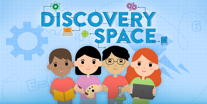 graphic of kids with text discovery space