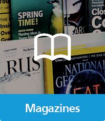 Graphic of Magazines with text and icon
