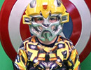 Young child in a Transformers Bumblebee costume