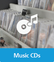 Graphic of Music CDs with text and icon