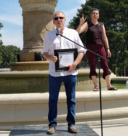 Paul takala addressing the Hamilton Pride 2018 attendees