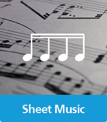 Graphic of Sheet Music with text and icon