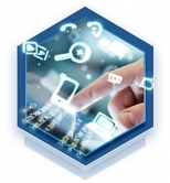 a hexagon graphic with a touch screen and floating icons