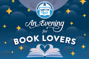 graphic of night sky with text hamilton erads an evening for book lovers