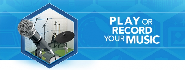 A hexagon graphic containing a microphone and music equipment with text Play or Record your Music