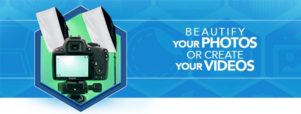 Hexagon containing camera and lights with text Beautify your photos or create your videos