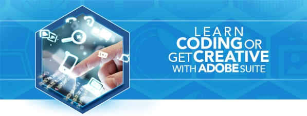a hexagon graphic with a touch screen and floating icons with text Learn Coding or get Creative with Adobe Suite