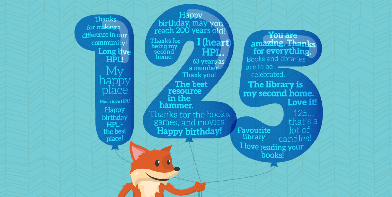 fox holding 3 balloons shaped like 123 with words in them