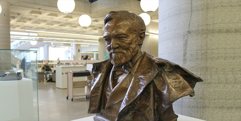Bronze bust of Andrew Carnegie at Central Library