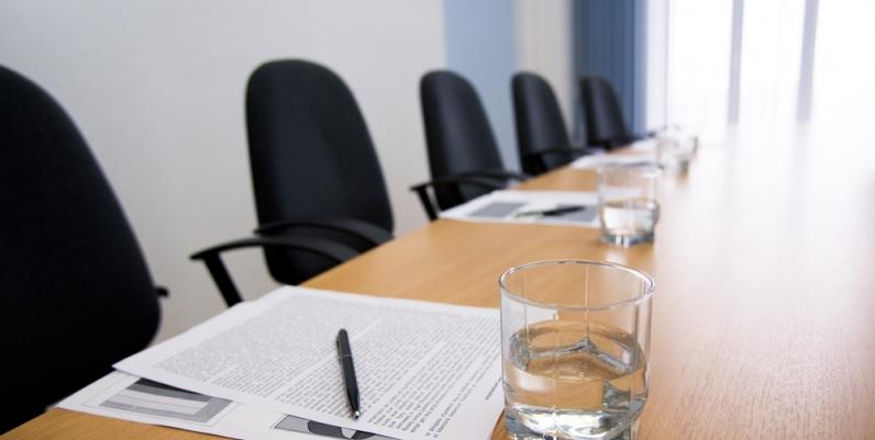 An empty board room