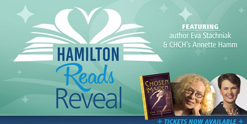 An image for Hamilton Reads 2019 that reads Hamilton Reads Reveal Featuring author Eva Stachniak and CHCH's Annette Hamm
