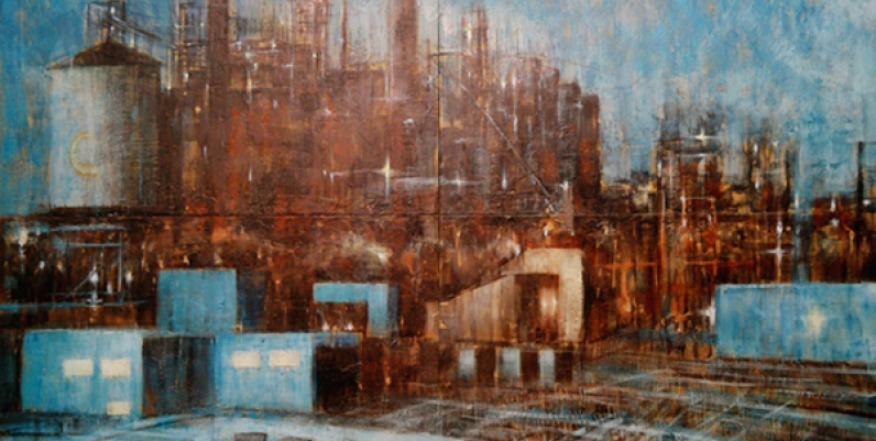 painting of an industrial factory