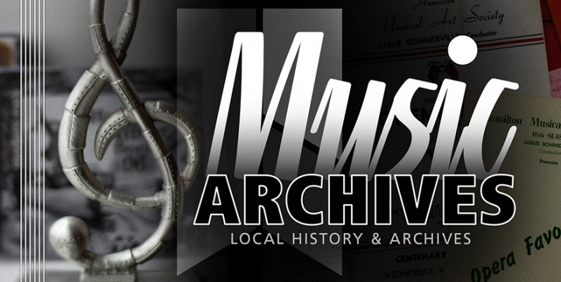 An image of a steel treble-clef with the text Music Archives and the tagline Local History and Archives