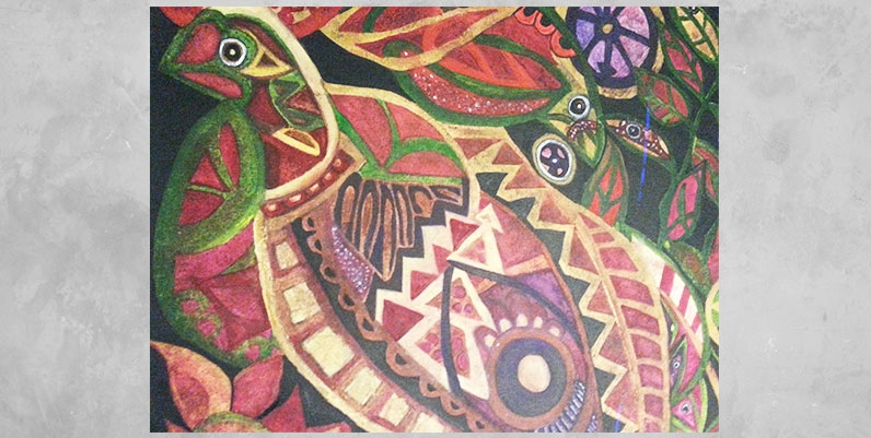 painting of a bird using abstract shapes