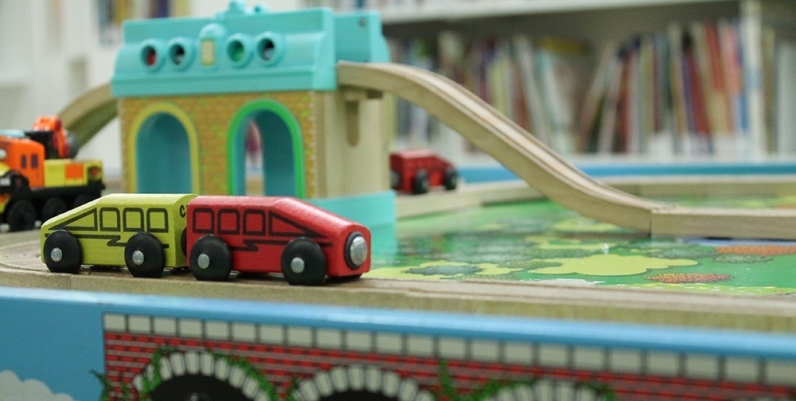 Closeup of a toy train at Central Library