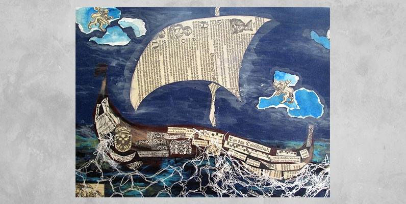 a collage of different materials forming a viking ship on canvass