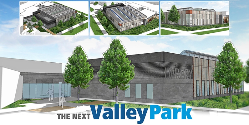Collage of images of the new Valley Park community centre and library branch