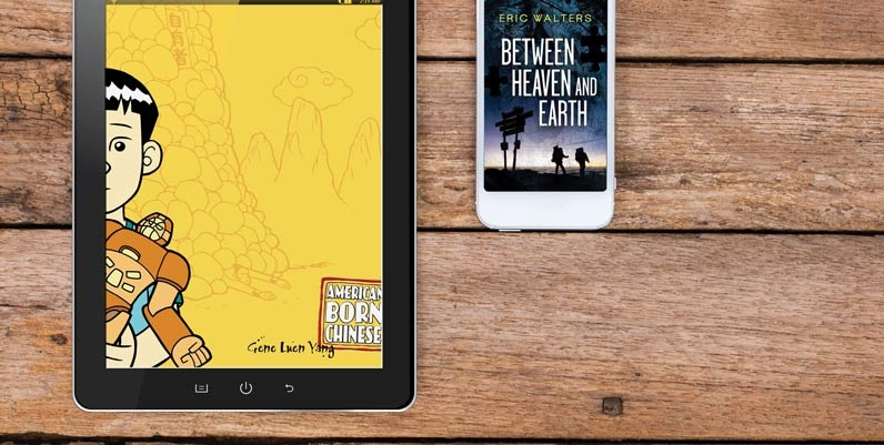 Graphic of book covers displayed on tablet screens