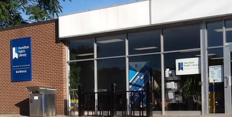 The hamilton public library Dundas branch front entrance