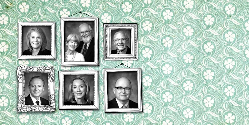 headshot photos of 6 gallery of distinction winners in hand drawn frames