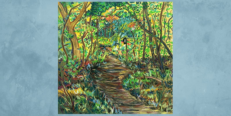 an oil painting of a Bruce Trail hiking path