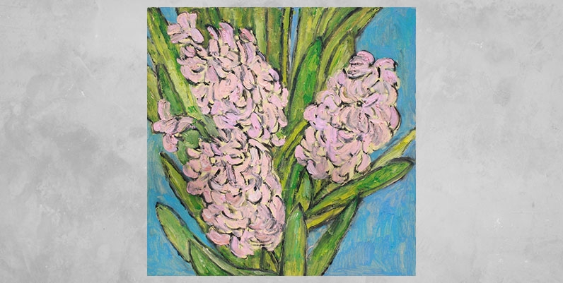 a painting of pink flowers
