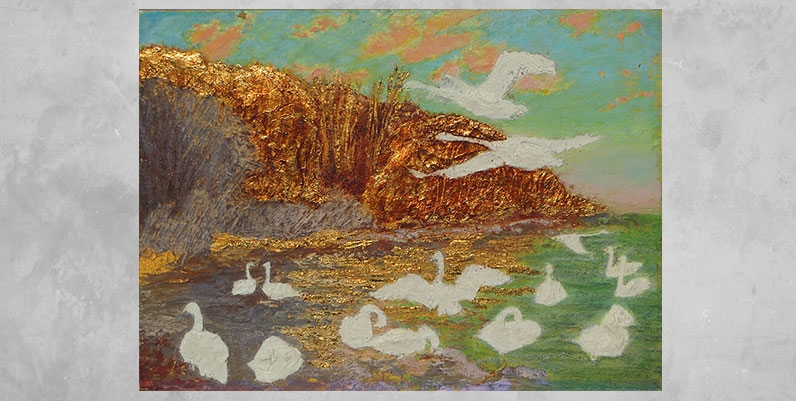 oil painting of swans