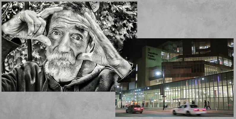 photo of an old man and a photo of the facade of hamilton public library