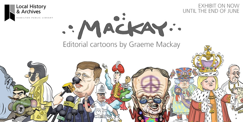 a collection of various caricatures of political figures drawn by Graeme Mackay
