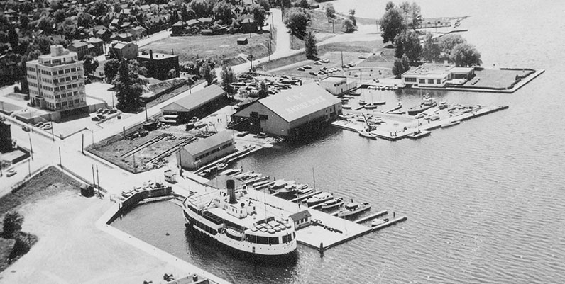 archival image of a harbour