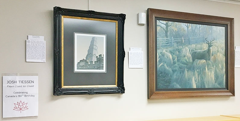 a photo of oil paintings
