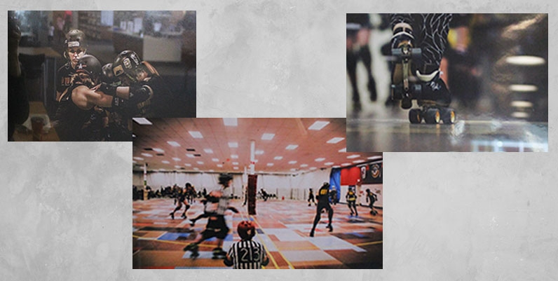a collage of photos depicting females participating in a roller derby
