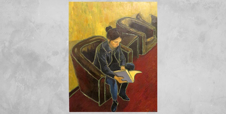 an oil painting of a female reading a book