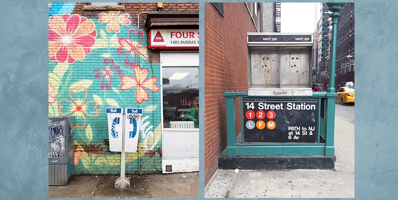 Two images of Andrea Beiko's work. Phone booths in various locations.