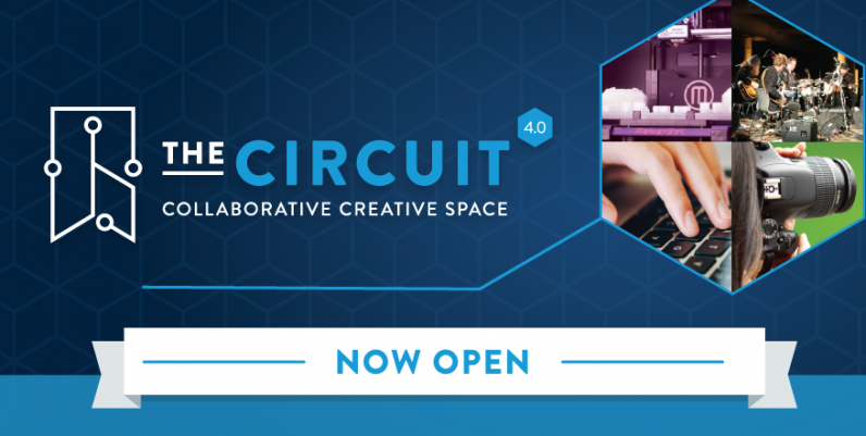 text: the circuit collaborative creative space now open image a blue background with a photo collage of various media