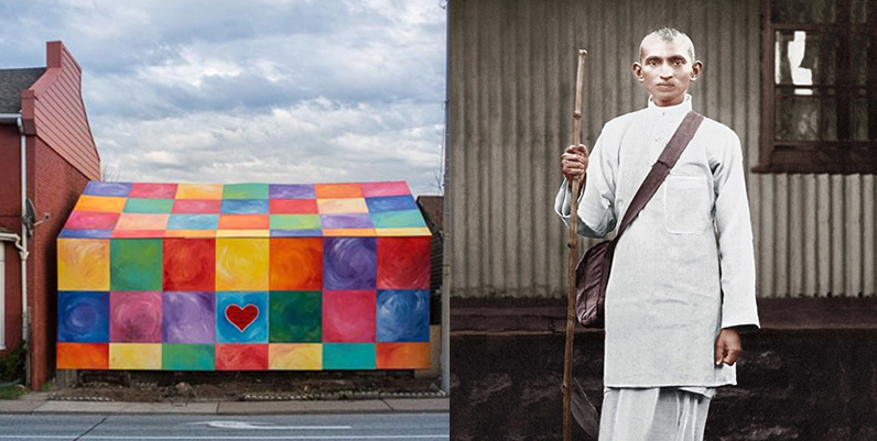 photo of the rainbow house and ghandi
