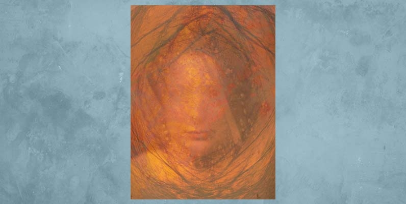 Gallery4 Art Exhibition November 2019: Abstract art in orange and warm colours with a blue background.