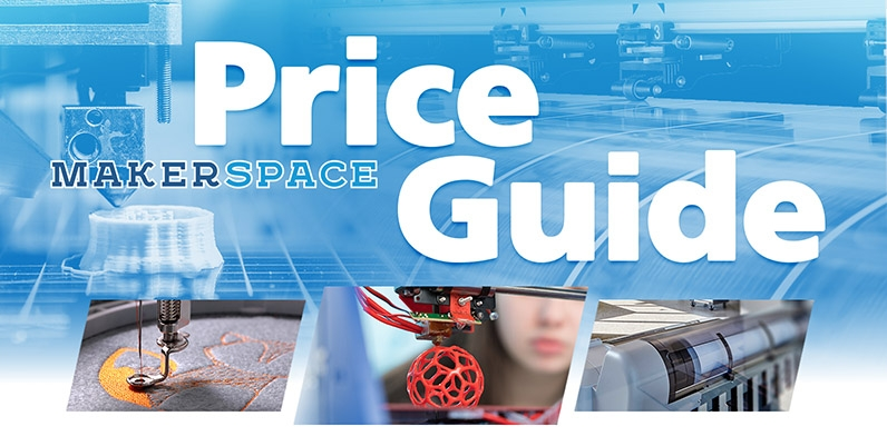 collage of equipment in the makerspace  with text price guide