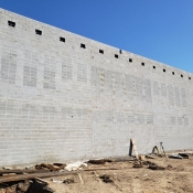 Cement wall at the Greensville branch construction site.